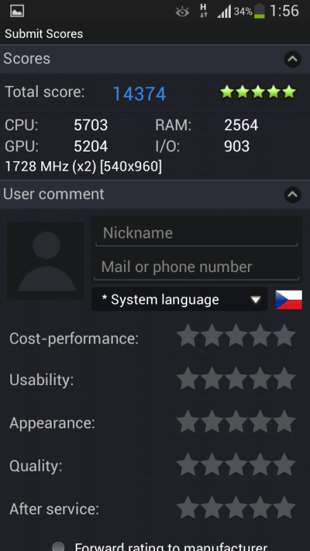Samsung Galaxy S4 mini - Antutu