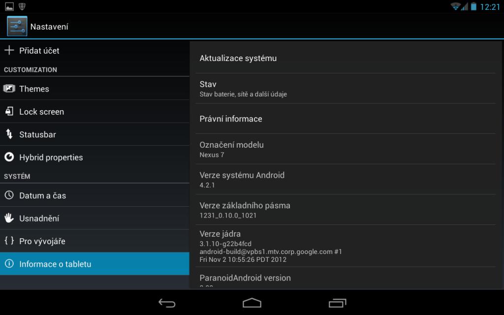 Jak aktualizovat android - o tabletu