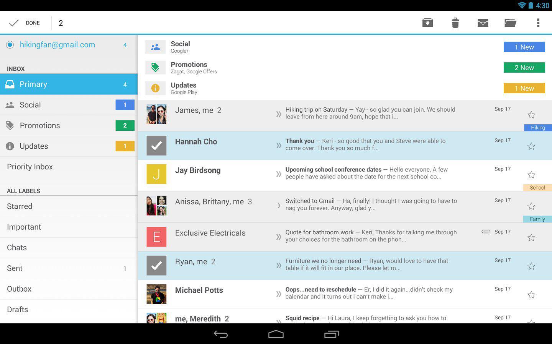 Obrazovka aplikace gmail
