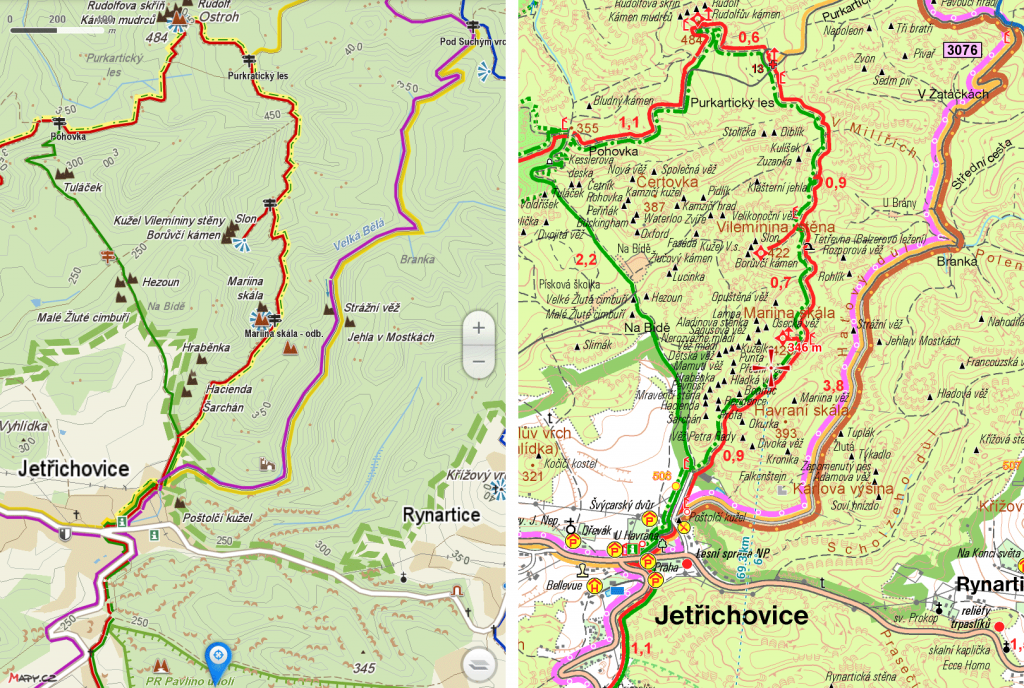 Smartmaps vs Mapy.cz Jetřichovice