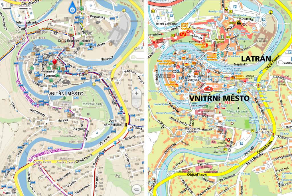Smartmaps vs Mapy.cz Krumlov