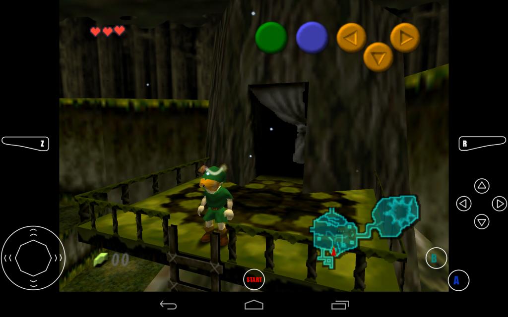 Hra spuštěná v emulátoru na Androidu
