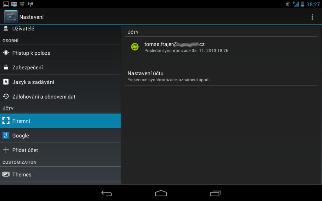 Nastavení exchange účtu na Androidu 1
