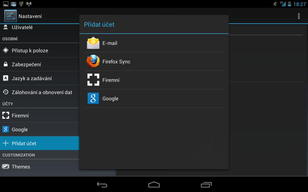 Nastavení exchange účtu na Androidu 2 - přidání nového účtu
