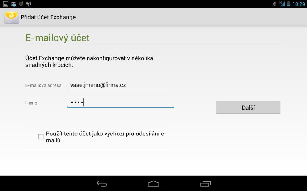 Nastavení exchange účtu na Androidu - Přidání nového účtu 3