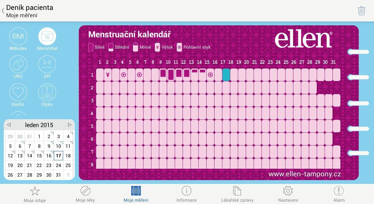 03 - Denik pacienta - Menstruacni kalendar