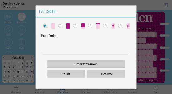 04 - Denik pacienta - novy zaznam v mensturacnim kalendari