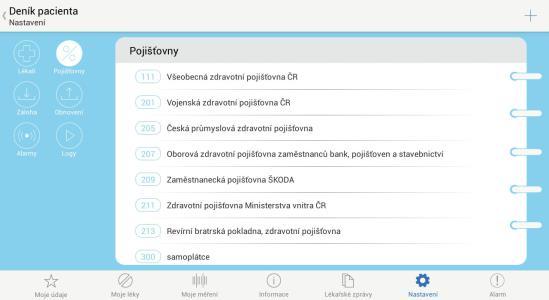 06 - Denik pacienta - Zdravotni pojistovny