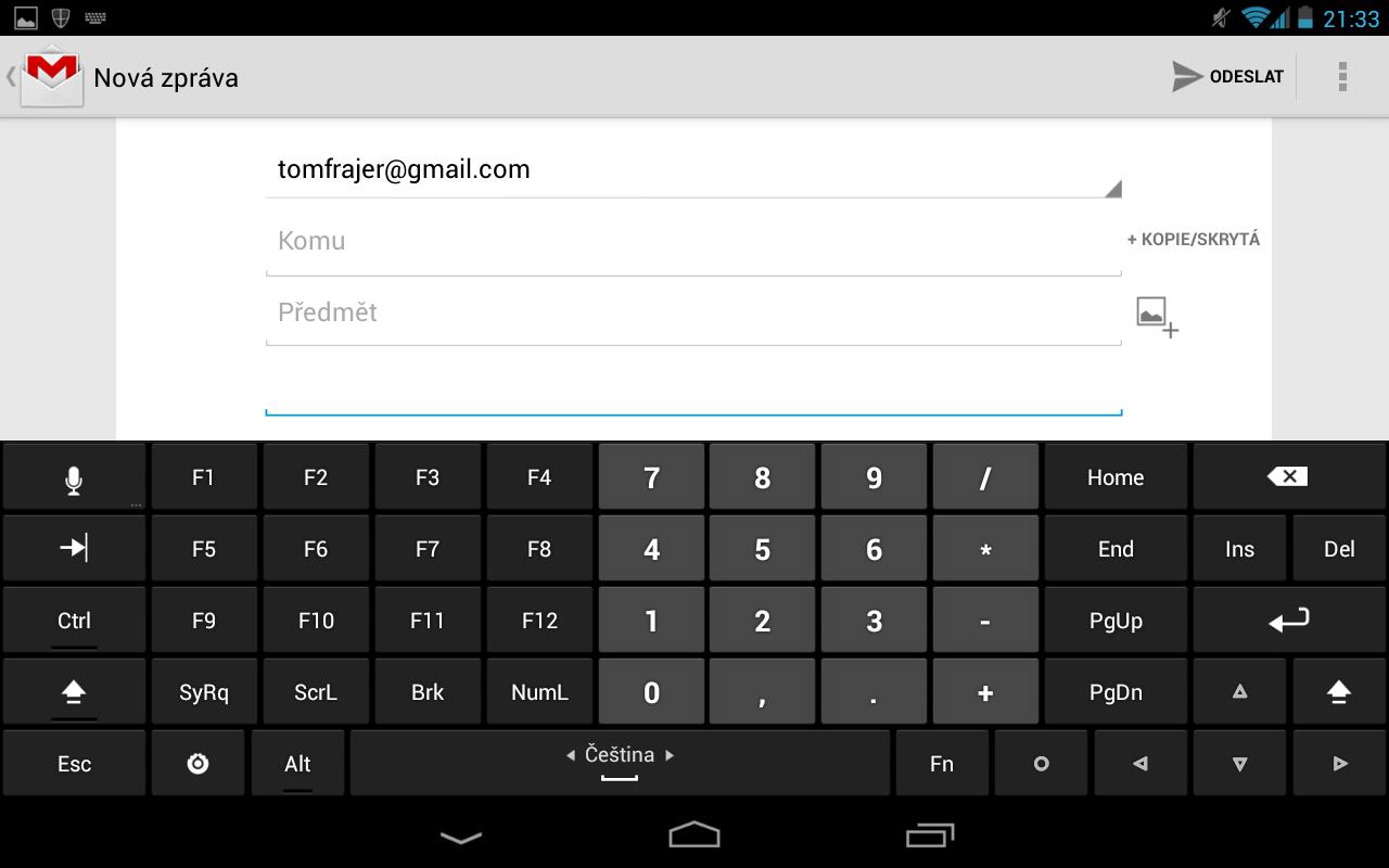 Hackers Keyboard další klávesy