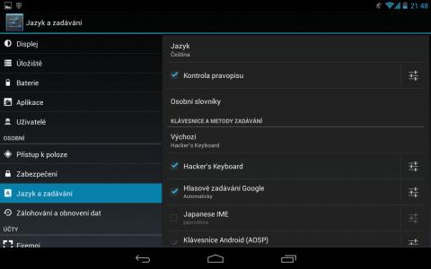 Hackers Keyboard nastavení výchozí klávesnice v os Android