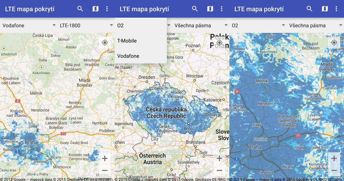 Mapa pokrytí LTE všech mobilních operátorů v ČR