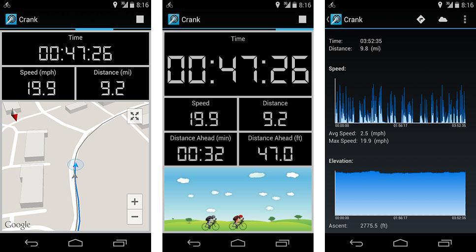 Crank Cycling Computer - vynikající cyklocomputer pro váš android telefon