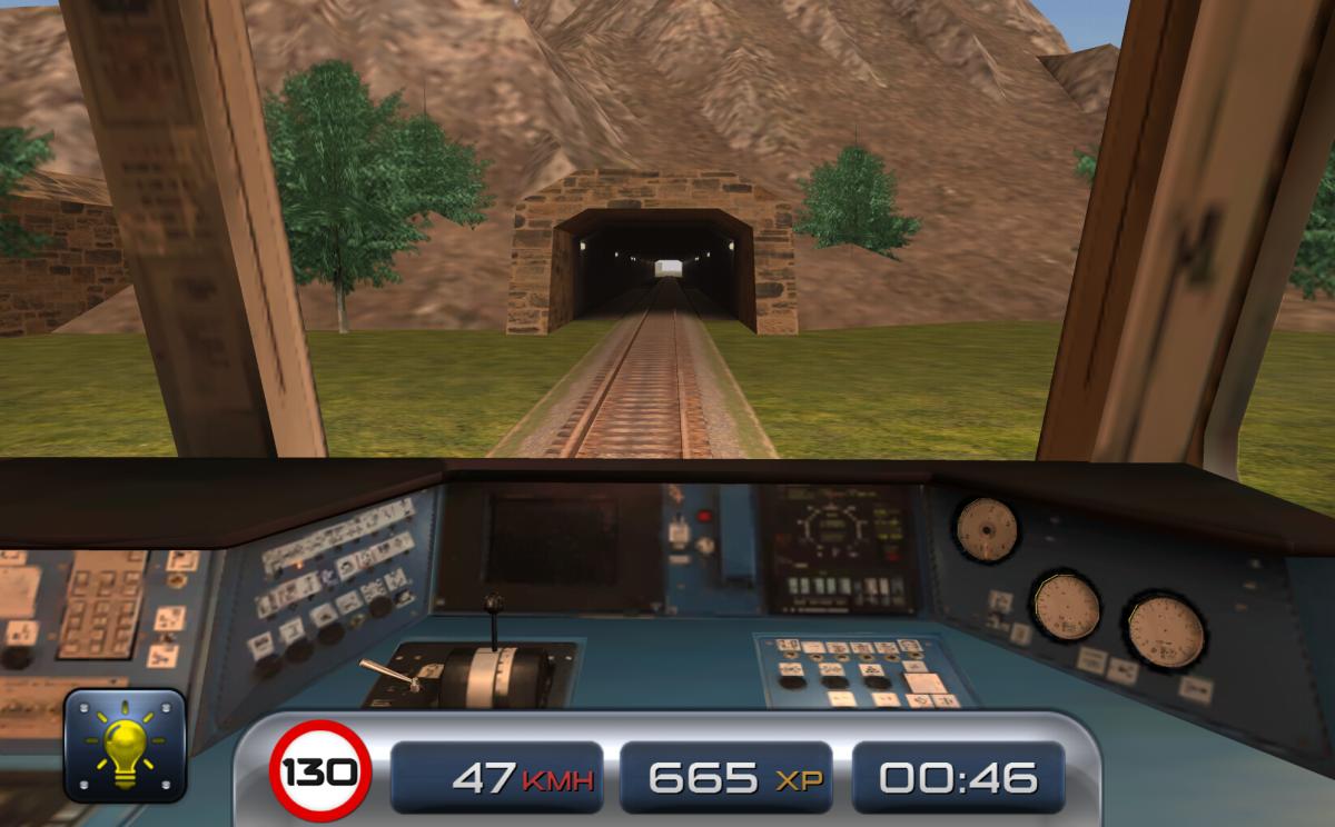 Train Driver 15 - Vlakový simulátor na android - pohled z kokpitu