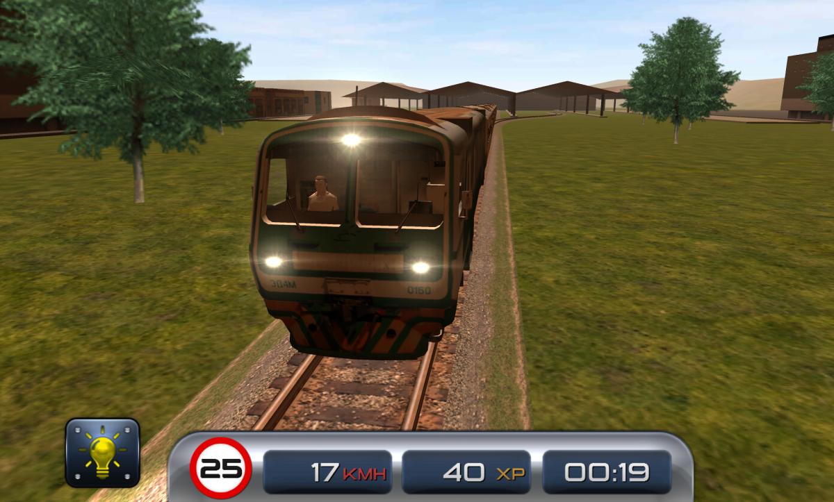 Train Driver 15 - Vlakový simulátor na android - pohled zepředu na vlak