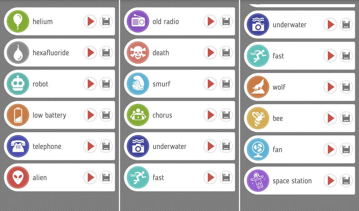 Voice changer with effect - efekty, které je možné použit