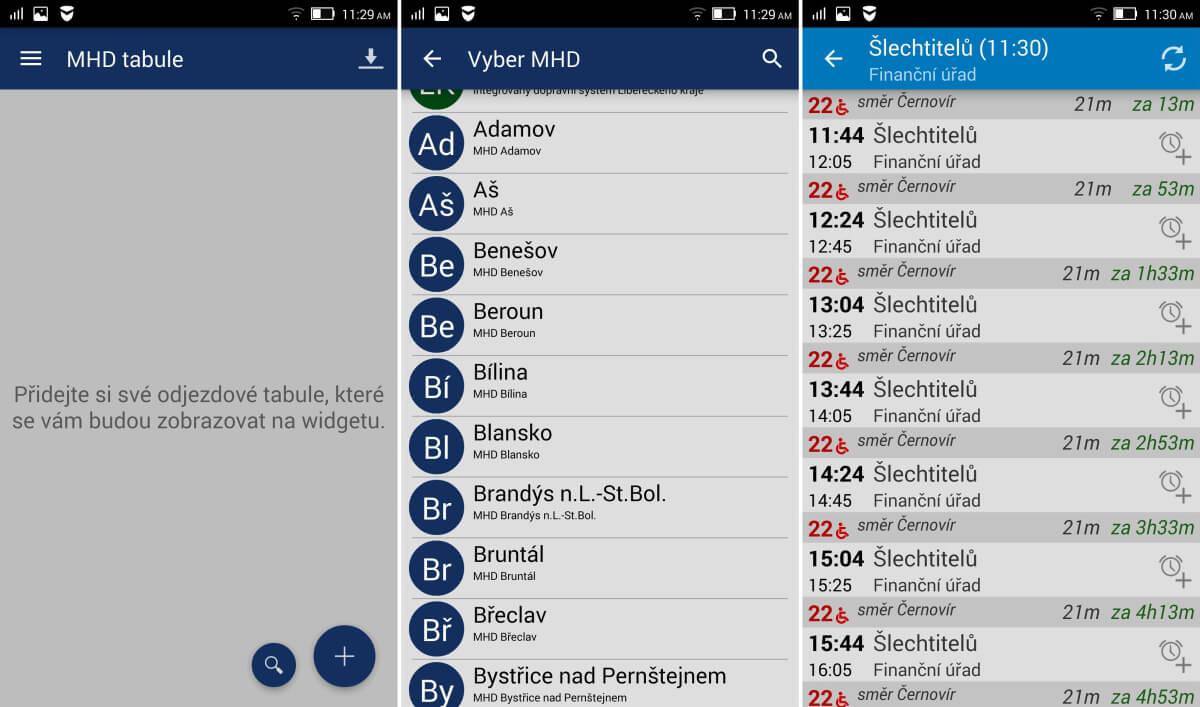 MHD Tabule - aplikace s jízdními řády