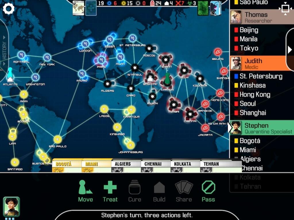 Pandemic je oblíbenou kooperativní stolní hrou ve které  budete zachraňovat lidstvo