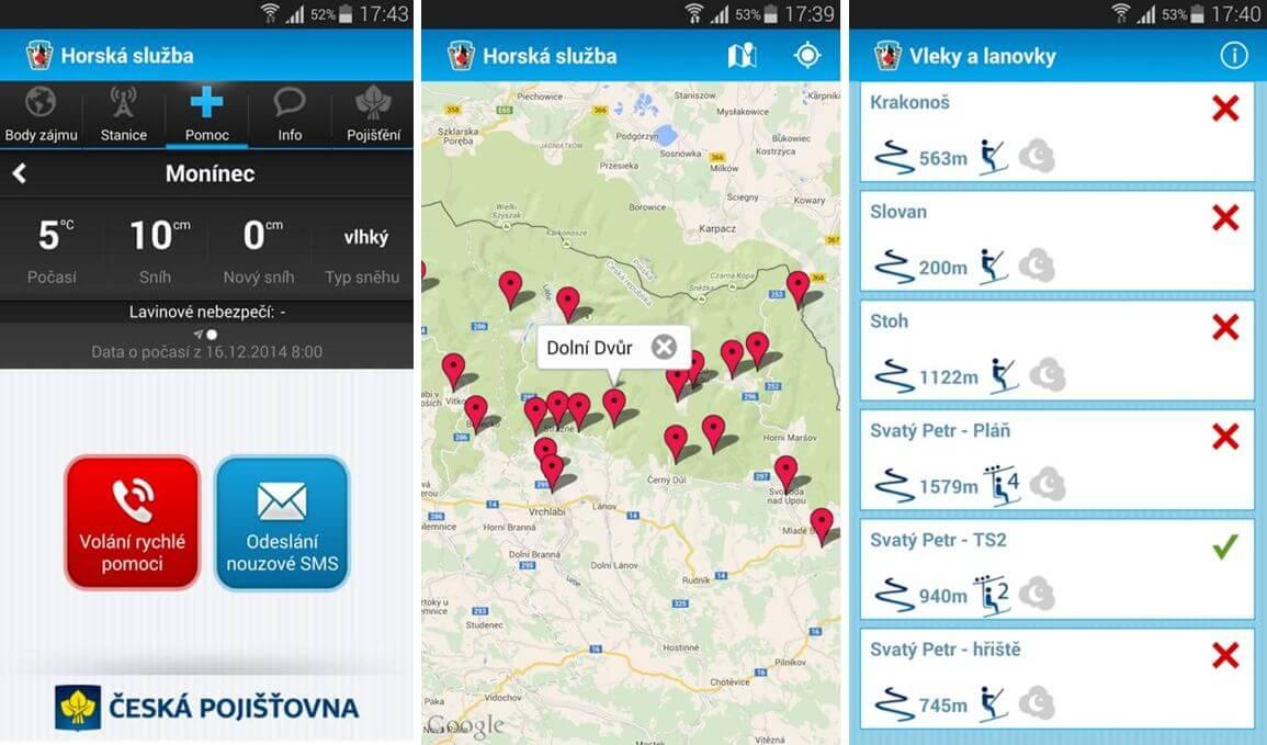 Aplikace Horská služba pro Android umožní udat záchranářům svoji polohu