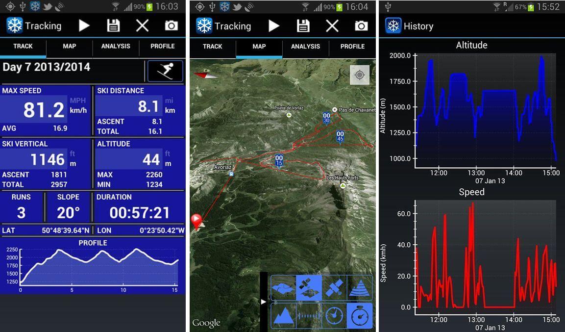 V Android lyžařské aplikaci Ski Tracks můžete sbírat záznamy o svém lyžování