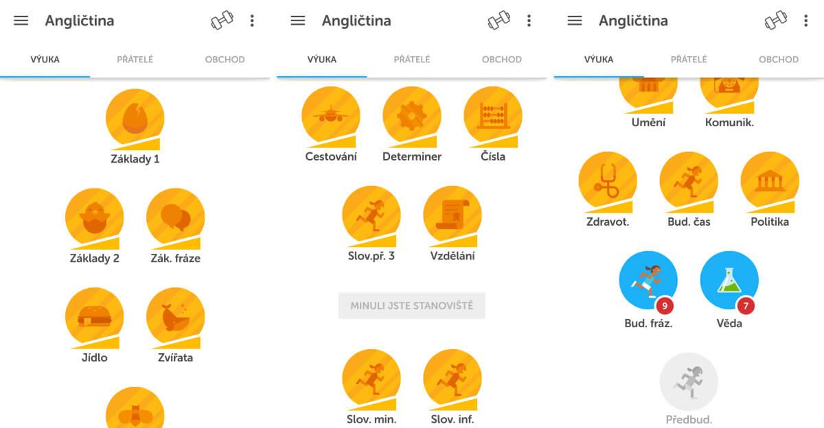 Duolingo - Jak se postupně zlepšujete v anglickém jazyce, odemykají se vám další lekce a témata