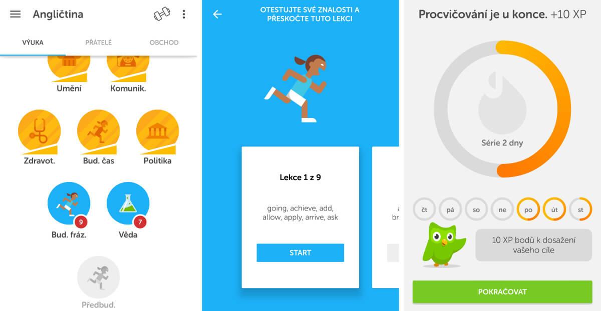 Duolingo - Při výuce angličtiny si vyberete lekci a po jejím splnění získáte body