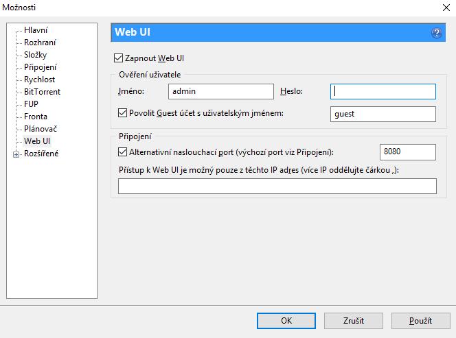 Nastavení uTorrnet webového rozhraní