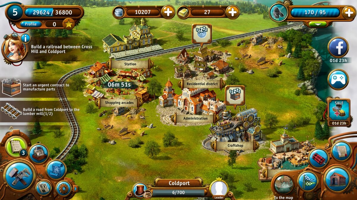Transport Empire je Android hra s vlaky