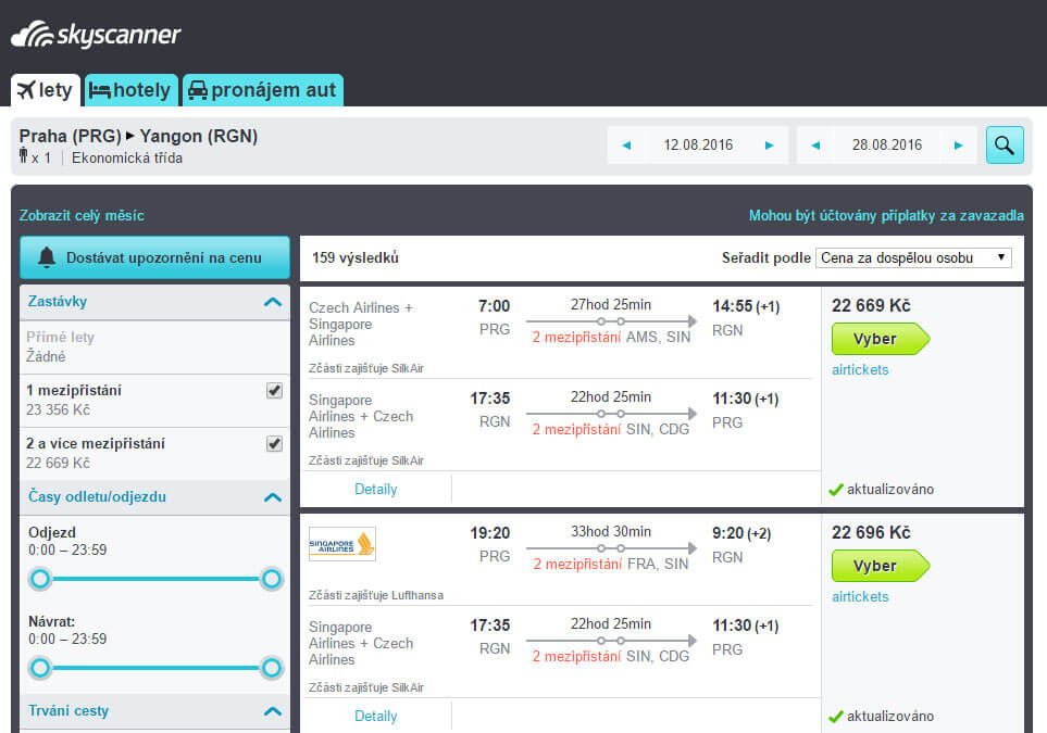 Skyscanner je klasický vyhledávač letenek který jsem dříve používal pro plánovýní cest po světě