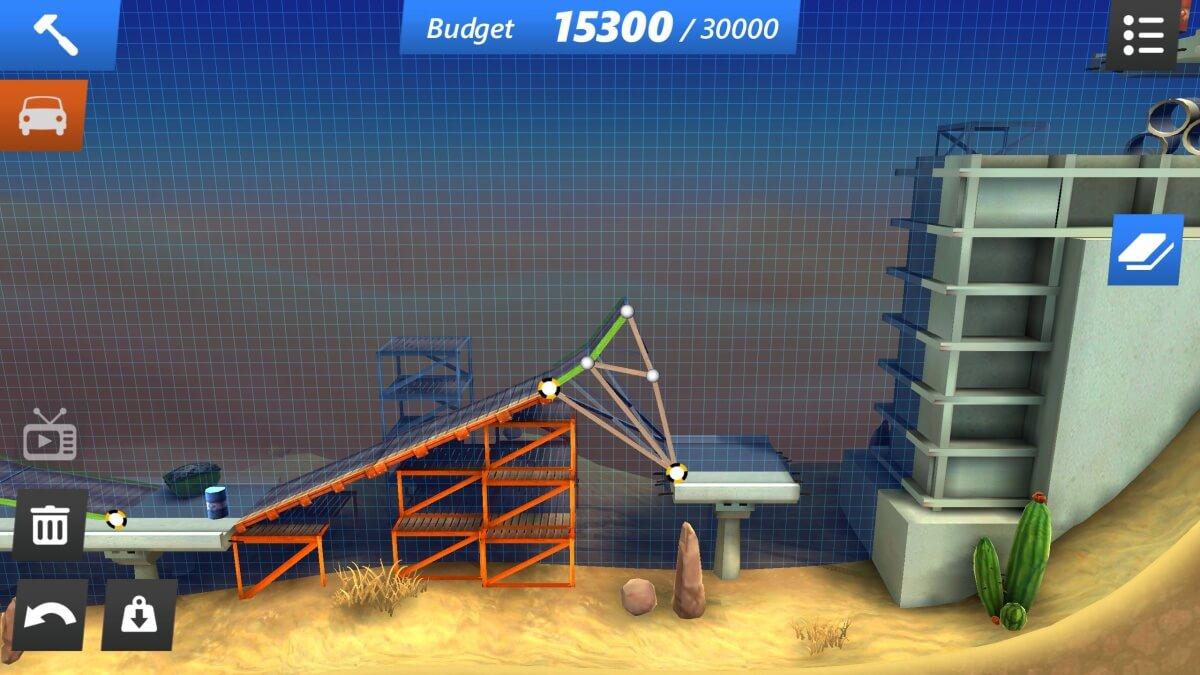 Bridge Constructor Stunts - tenhle můstek vede skoro až do nebe