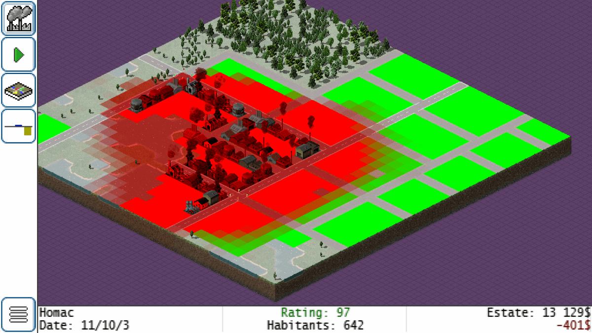 TheoTown - znečištění města dosáhlo kritické hodnoty