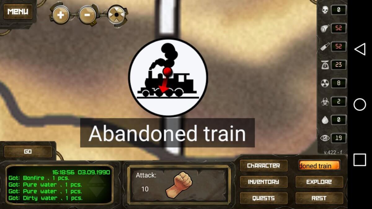 Day R - putování ve dne/opuštěný vlak