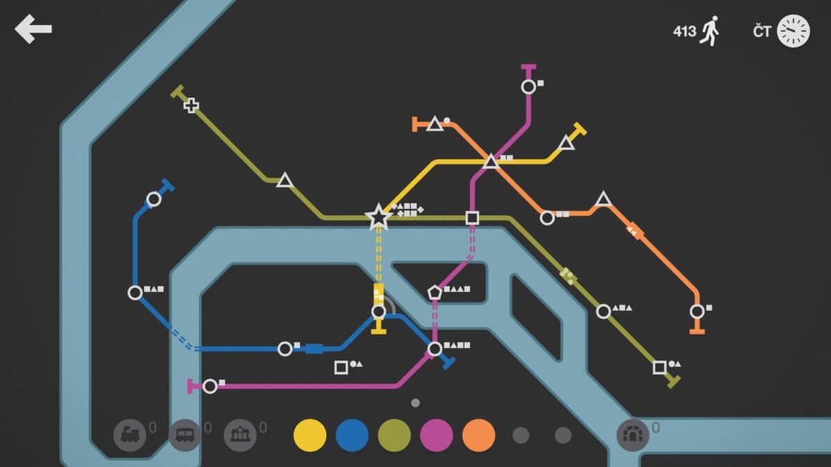 Mini Metro - úvodní načrtnutí dráhy je také důležité, protože můžete skončit stejně neefektivně jako zde