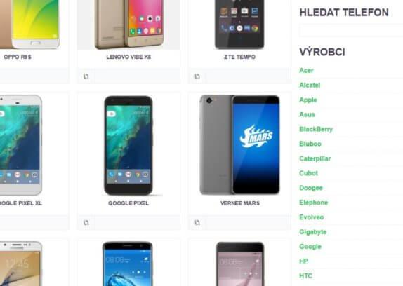 katalog a srovnávač mobilnách telefonů s androidem obsahuje rozsáhlou databázi více než 500 mobilů