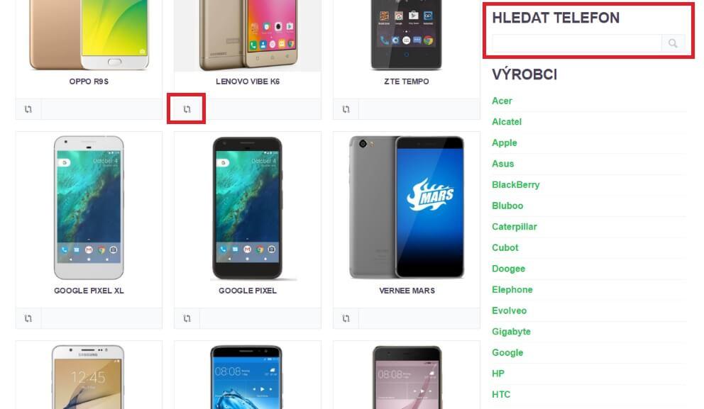 katalog a srovnávač mobilnách telefonů s androidem umožní porovnání specifikací až tří telefonů najednou