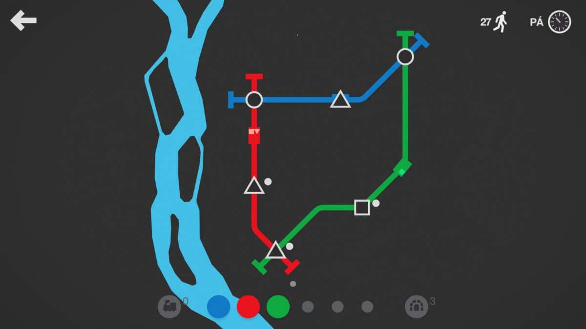Mini Metro - tyhle linka dostávají názvu celé hry, ale brzy se také rozšíří