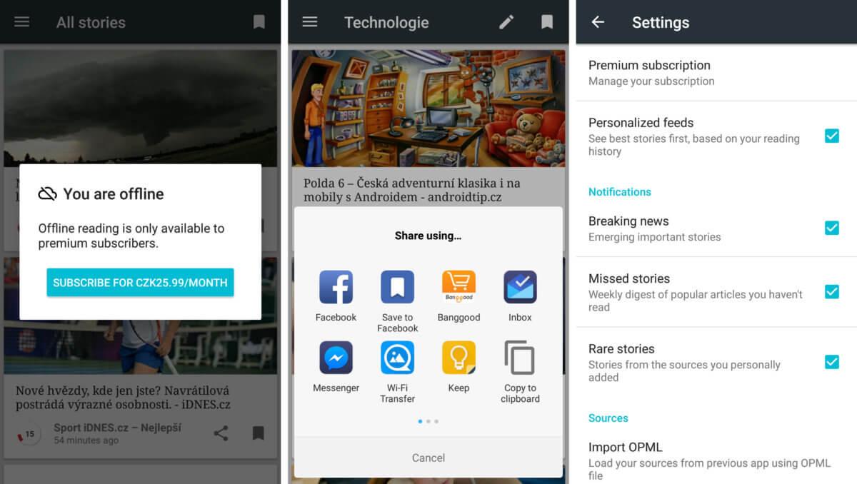 Feedpresso je offline rss čtečka pro android