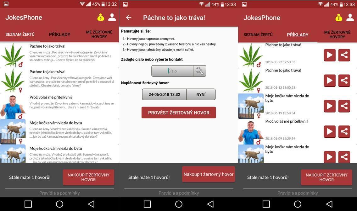 JokesPhone - výběr námětu hovoru
